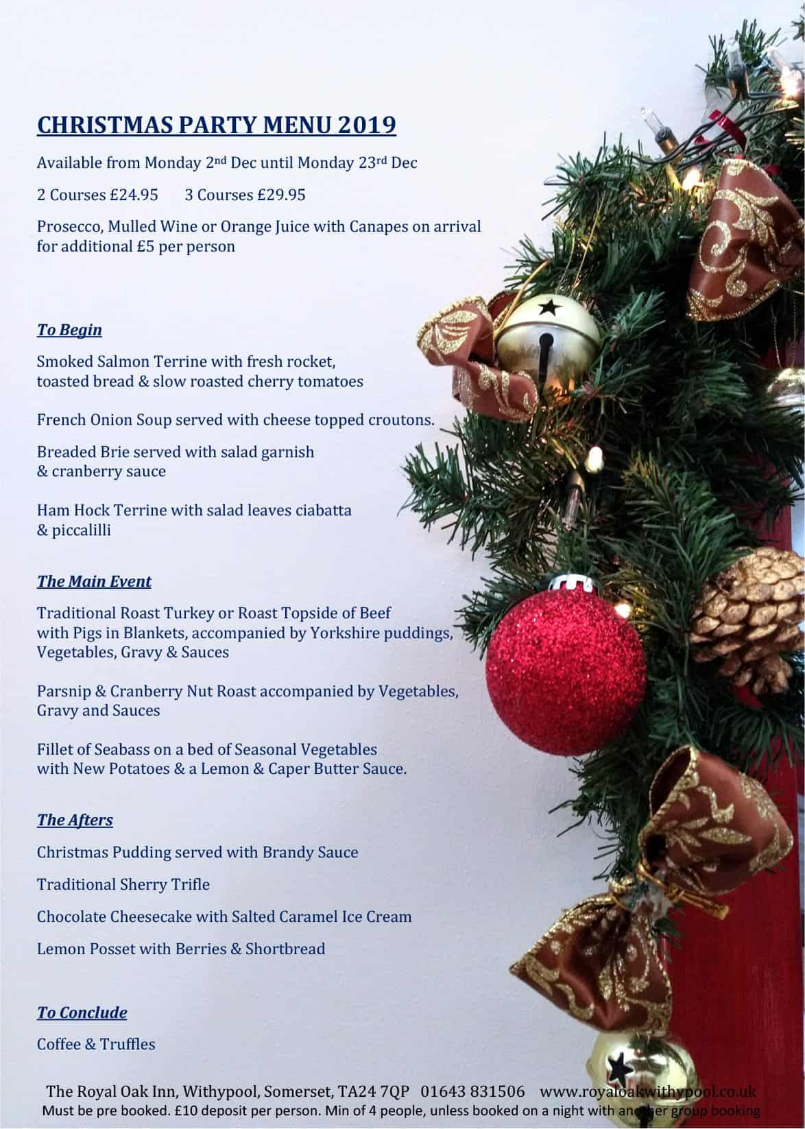 Christmas party menu 2019