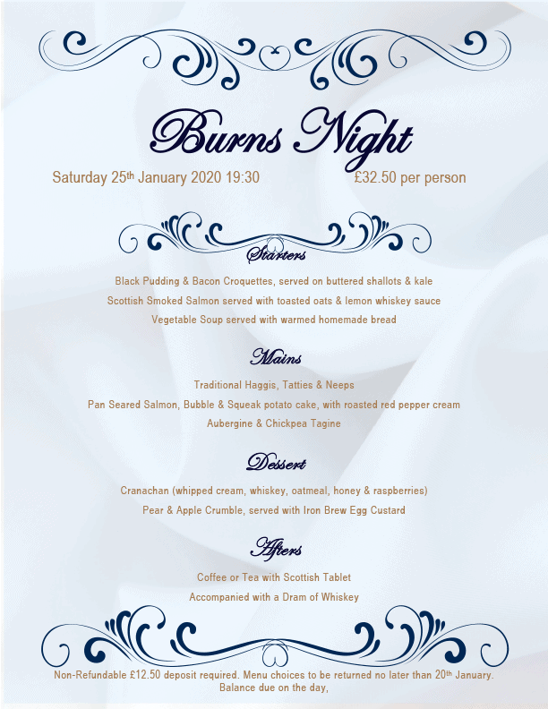 Royal Oak Inn, Withypool Burns Night menu