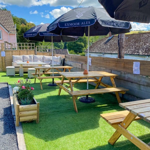 Outdoor bar and seating Exmoor pub